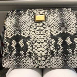 Marc Jacobs faux snakeskin grey and white clutch